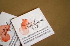 Letterpress business cards with hand painted watercolor. Lovely. Recent Work : Italian Fix   Eva Black Design