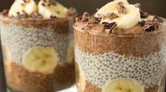 Chocolate Banana Chia Seed Pudding Recipe Desserts with bananas, chia seeds, milk, vanilla extract, sweetener, cacao powder, cacao nibs