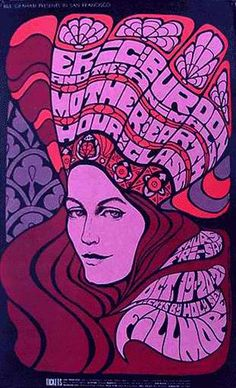 Eric Burdon and The Animals, Mother Earth, and Hour Glass Filmore poster.