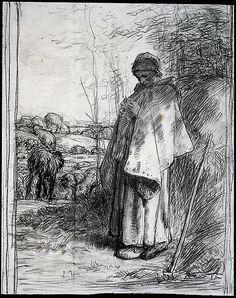 jean francois millet - study for shepherdess knitting (la grande bergere) - 1862