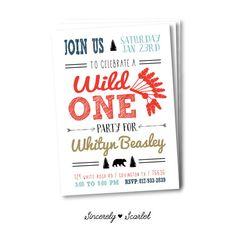 Wild One Modern Birthday Invitation digital by SincerelyScarlet