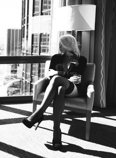 black & white, window, sexy girl, high heels, light