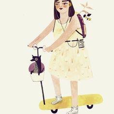 "1,251 Likes, 21 Comments - Adelina Lirius - Illustration (@adelinaillustration) on Instagram: ""Yellow #drawing #art #watercolor #akvarell #illustration #dog #procreate #kickbike"""