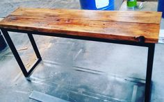 Recycled Oregon industrial hall table with black metal legs