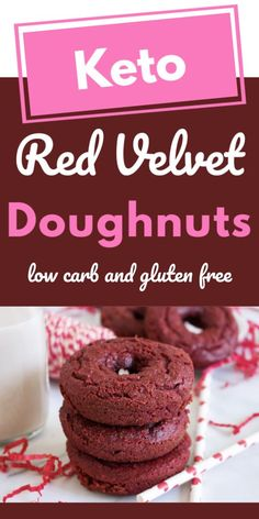 Keto valentine's red velvet donuts make a special Valentine's Day breakfast recipe, or keto dessert. Serve with ice cream, or top with chocolate chips. Low Carb Donut, Low Carb Sweets, Low Carb Keto, Sugar Free Recipes, Donut Recipes, Low Carb Recipes, Yummy Recipes, Dinner Recipes, Keto Donuts