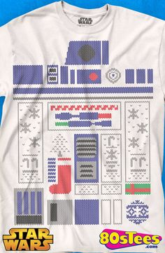 R2-D2 Faux Ugly Christmas Sweater T-Shirt: Star Wars Mens T-Shirt This popular Star Wars celebrity was a star in the film series.  Star Wars geeks love R2-D2 and his humorous antics.
