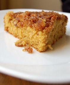 """Pumpkin Crunch Coffee Cake ~ made it this morning and it was a HUGE hit.  My Dad couldn't stop eating it and he hates pumpkin.  I did double the topping and put it in a large square pan (I didn't have two round 8"""")"""