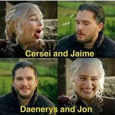 Cersei and Jaime has a toxic relationship, while Dany and Jon is all flowers and puddings.