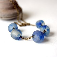 Recycled glass necklace cobalt blue and white beads by BlackStar, $22.00