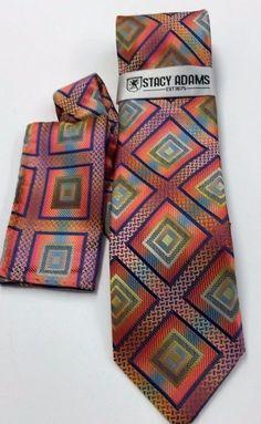 Stacy Adams Tie & Hanky Set Coral, Navy, Yellow Men's Hand Made 100% Microfiber #StacyAdams #Tie