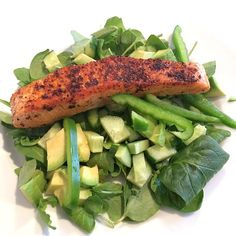 The Body Coach:Salmon fillet with avocado salad #Leanin15 #fats #fuel #energy #macros #lean #lunch #food