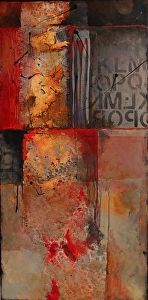 Red Beneath 14023 by Carol Nelson mixed media ~ 36 x 18