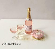 Pink Champagne by My French Cuisine Champagne Party, Pink Champagne, Champagne Toast, Miniature Food, Miniature Dolls, Miniature Bottles, Clay Miniatures, Dollhouse Miniatures, Dollhouse Ideas
