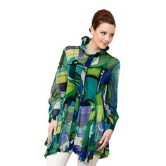 """Damee NYC Jacket, """"Picasso in Green"""" Long Lightweight, in Green Green Fashion, Lightweight Jacket, Picasso, High Neck Dress, Nyc, Jackets, Dresses, Style, Turtleneck Dress"""