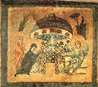 "The image on the right depicts Mary at the tomb of Jesus. It is one of a series of images from the ""Relinquary Box"" which contains stones from holy sites of Palestine. Dated 6th-7th C. it is Located at Biblioteca, Vatican. can you see the dome shaped object above the tomb, If it is a building why is it hovering, Also, what is the round object on top?"
