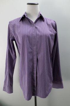 Lauren Ralph Lauren Purple striped 100% Cotton Blouse Size M #LaurenRalphLauren #ButtonDownShirt #Casual