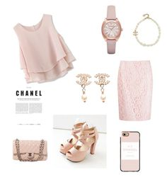 """""""Chanel look"""" by rainn1233 on Polyvore featuring Chicwish, Martha Medeiros, JY Shoes, Emporio Armani, Chanel and Casetify"""