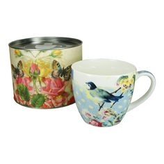 Vintage Bird and Flowers Big Mug in Tin