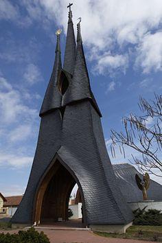 Hungary- Imre Makovecz designed by Holy Spirit Church. Paks