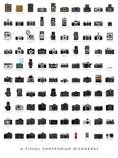 A Visual Compendium of Cameras by popchartlab: A meticulously illustrated catalog of 100 landmark cameras, culled from over a century of photographic history, depicting both professional and consumer models and tracing photography's history from the first models to today's digital wonders. #Infographic #Cameras
