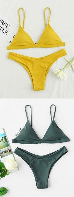 82b595848bd26 Product name: Spaghetti Strap Triangle Top With High Leg Bikini Set at  SHEIN, Category: Bikinis