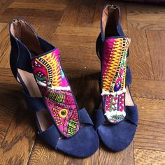 "Anthropologie ethnic heels Howsty nura heels Made with supple leathers and vintage fabrics such as stitchy kantha and rugged kilim, Howsty shoes and bags combine a handcrafted, old-soul feel with refreshingly simple silhouettes that get along with everything in your wardrobe. Never worn, only tried on! * No two pairs are exactly alike * Fits true to size * Back zip * Suede and vintage textile upper * Leather insole, sole * Made in Spain * 4"" suede wrapped heel Anthropologie Shoes Heels"