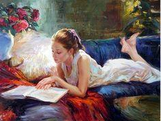 Mujeres lectoras entre las hermosas pinturas de Vladimir Volegov. #BibUpo
