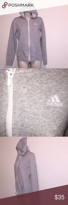 Adidas hoodie Small gray Adidas hoodie grey color small size fabric content BODY 70% cotton 30% Polyester RIB 78% cotton 17% Polyester 5% Spandex adidas Tops Sweatshirts & Hoodies