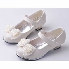Ivory Beaded Patent Leather Flower Pageant Girl Girls Dress Heels Shoes SKU-133463