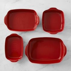 Emile Henry's Ultime bakeware brings sleek style to the company's unsurpassed tradition of quality and performance. This set includes four versatile bakers – all shaped from Burgundian clay that absorbs, distributes and retains h…