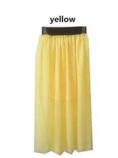 New 2015 Women Skirts Spring Summer Neon Green Skater long Skirt Casual Bright Color Pleat Floor-Length Skirts Saia Girl