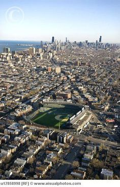 Chicago, IL - Wrigley Field looking towards the Loop