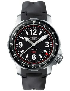 Mühle-Glashütte – Marinus GMT.  44mm, stainless steel case, movement is ETA 2893-2, automatic; Mühle version with woodpecker neck regulation, own rotor and characteristic surface finishes. Second time zone/24-hr display. Stop-second. Fast date correction. 42-hr power reserve.