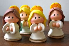 Angel Baptism First Communion Party Favor Polymer Clay Ornaments, Fimo Clay, Polymer Clay Crafts, Communion Party Favors, First Communion Party, Clay Angel, Clay People, Balloon Decorations Party, Clay Figurine