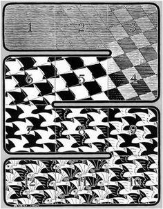 """Skot Foreman Gallery M. Escher """"Regular Division of the Plane I (Red)"""" 1957 Woodcut 9 x 7 in 25 x 17 cm Limited-edition of 175 Bool 416 © The M. Escher Company B. Escher Kunst, Escher Art, Mc Escher, Escher Paintings, Dali, Mathematical Drawing, Tesselations, Artwork Images, Surrealism"""