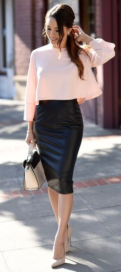 Black leather pencil skirt with blush blouse.