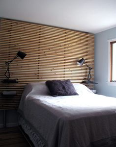 This is actually a DIY but it looks like too much of a pain to me. - Ikea DIY - The best IKEA hacks all in one place Bedroom Apartment, Interior Design Living Room, Home, Bedroom Headboard, Bedroom Makeover, Diy Furniture Bedroom, Wood Slat Wall, Ikea Mandal Headboard, Ikea Headboard