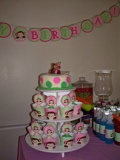 monkey theme 1st birthday for girl.smash cake. Cup cakes.