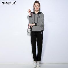 3bc697d83ca MUSENDA Plus Size Women Black Appliques Striped Hooded Sweatshirt Full  Length Pants 2017 Autumn Female Clothing