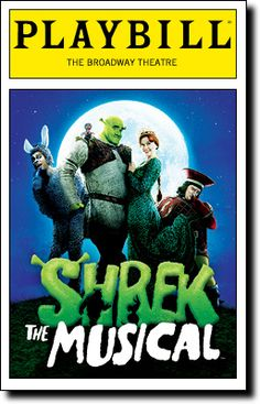 Shrek The Musical Broadway Playbill Brian dArcy James Sutton Foster Christopher Sieber Robb Sapp Daniel Breaker @ Broadway Posters, Musical Theatre Broadway, Theatre Shows, Broadway Nyc, Broadway Plays, Broadway Shows, Broadway Playbill, Theatre Posters, Theatre Quotes