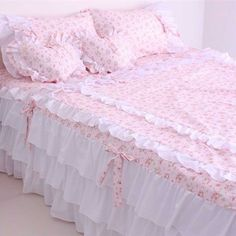 Shabby bedding set Source by Queen Bedding Sets, Pink Bedding, Luxury Bedding, Rose Duvet Cover, Duvet Cover Sets, Bed Cover Design, Pink Bedrooms, Kids Curtains, Doll Beds