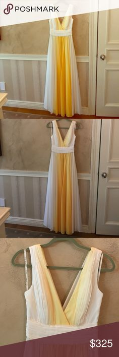 Halston Heritage - Lemon Circular Ombré Print Gown Beautiful Halston Heritage Gown - Originally bought for a wedding I did not end up attending. Size 2. Center is the deepest yellow and it ombres out lighter, white on the sides. Halston Heritage Dresses Wedding