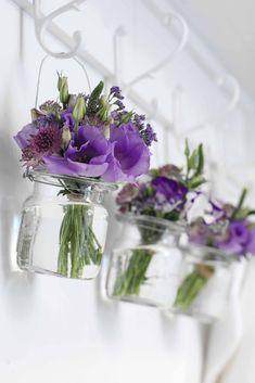 Simple jam jar flowers