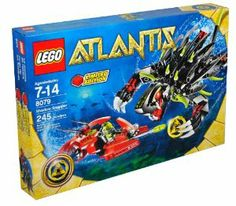 """Lego Atlantis Series Limited Edition Set #8079 - SHADOW SNAPPER with Combat Sub and Diver Minifigure (Total Pieces: 245) by LEGO. $43.49. Fire the sub's dual flick-launching torpedoes. Includes: SHADOW SNAPPER with Combat Sub and Diver Minifigure (Total Pieces: 245). For age 7 - 14. Snapper measures 8"""" (20cm) long; Sub measures 5"""" (12cm) long. Yellow Atlantis treasure key included! Collect them all!. Keep an eye on the shadows when this Atlantis guardian is around!  Cover..."""