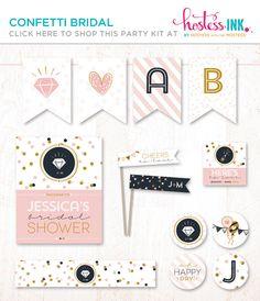 Pink & Gold Confetti Bridal Shower + DIY Party Decor