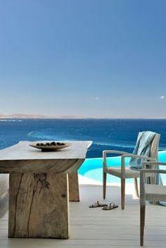 #dreamplace!<3  Minimal Villa in Mykonos  white walls + wooden furniture