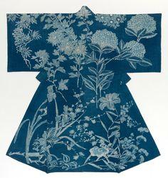Japan, Summer kimono, Yukata, Meiji period (1868–1912), Japan; cotton, natural indigo; painted resist dyeing (tsutsugaki yuzen).