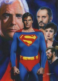 Superman (Henry Cavill, Christopher Reeve, Dean Cain, Tom Welling and George Reeves) by Steve Stanley. Comic Superman, Superman Artwork, Superman Movies, Superman Family, Dc Movies, Real Superman, Superman Photos, Comic Movies, Christopher Reeve Superman
