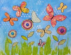 Paper Butterflies Mix Media Acrylic Painting Tutorial by Angela Anderson on YouTube| Summer Art Camp Series | Free Online Lessons for Kids and Beginners | Create Flowers and Butterflies with paper and acrylic paints | Family or VBS Craft & Paint Party Ideas