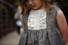Little girls dress - toddler dress - flower girl dress- vintage inspired - gray and natural pinstripe linen with ruffles and pearl buttons Toddler Dress, Toddler Outfits, Kids Outfits, Little Girl Dresses, Girls Dresses, Flower Girl Dresses, Little Girl Fashion, Kids Fashion, Vintage Inspired Dresses